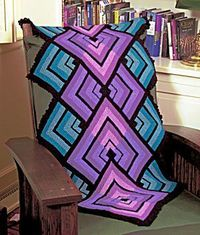 Free Pattern..........I would love to make a whole blanket of this ... Miters In Motion Shawl/Throw Very pretty!