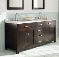 double vanity - simple lines, lots of drawers