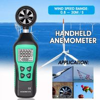 Handheld Anemometer High Precision Wind Speed Meter Temperature Measuring LCD