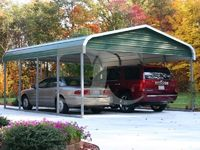 Regular Carports feature the most economical of the three roof systems that we offer. The roof transitions over to the legs with a radius bend.