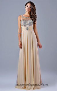 Nina Canacci 1091 Long Nude Beaded High Neck Prom Gown