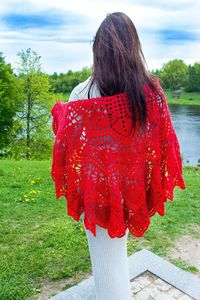 Red wool cape, as crochet warm Christmas gift for daughter, winter oversized knitted clothes for women $69.00