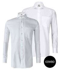 White Satin and White Herringbone Regular Fit Premium 2 Ply Cotton Shirt Combo Pack �'�2999.00