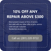 Air Mechanic Services is providing 10% off on any repair above $300.Contact us 281-220-9722 to grab the deal.