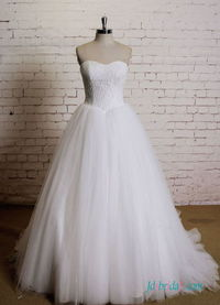 H0551 Simply lace bodice tulle ball gown wedding dress Model: H0551(Worldwide Free shipping)