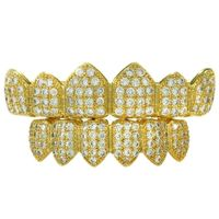 Premium Men's Gold Plated Cubic Zirconia Stones Iced Out Top and Bottom CZ Teeth Hip Hop Bling Grillz £18.95