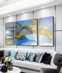 3 pieces Wall Art Modern Abstract Acrylic Painting on canvas cuadros abstractos Navy Blue Gold Original Wall Pictures Decor for living Room $292.94
