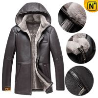 CWMALLS® Warsaw Men Sheepskin Leather Shearling Jacket with Hood CW878207[Patented Product, Global Free Shipping]
