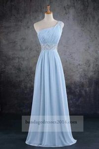 Blue Beaded One Shoulder Long Prom Dresses 2014