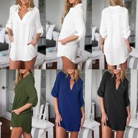 Amaze Central Women Chiffon Blouse V Neck Pockets Roll up Long Sleeve S- 5XL Plus Size