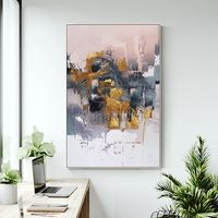 Gold art Modern Abstract acrylic Paintings on canvas Original Extra large blue painting framed wall art pictures cuadros abstractos $123.75