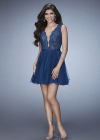 Beautiful Midnight Blue Plunging V Scalloped Neck Lace Beaded Party Dress