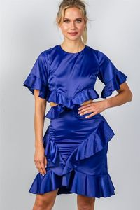 Ladies fashion bow tie back cut-out ruffle midi dress $22.50
