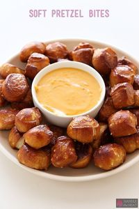 Soft Pretzel Bites are chewy pieces of heaven that you can serve salted alongside homemade cheese dipping sauce or sweet with a cinnamon sugar coating.