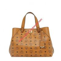 MCM Large Essential Visetos Original Tote In Brown