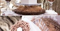 """""""Bless This Nest"""" Bird Baby Shower {Gender Neutral} with rustic florals, vintage trunks, green and beige bird cookies and a nest cake + muslin bag favors."""