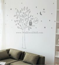 Hello Owl Star Moon And Tree Wall Decals