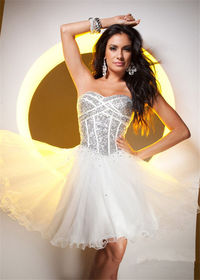Short Ivory Silver Sequin Homecoming Dress