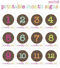 Free printable month signs for baby pictures. I regret not putting the month in the boys pictures so they'd be better organized.