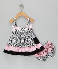 Loving this Pink & Black Damask Swing Top & Diaper Cover - Infant on #zulily! #zulilyfinds