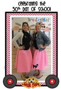 Celebrating our 50th Day of School! My mom has a poodle skirt, pink jacket, and pink scarf with music notes that I can borrow.
