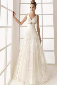A Line V Neck Floor Length Ivory Wedding Dress
