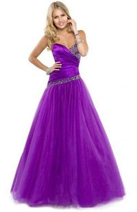 Strapless Satin Beaded Purple Party Dresses with Tulle A Line Skirt