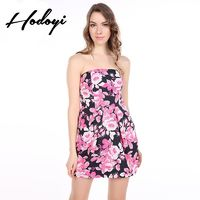 Strapless Vogue Sexy Printed Ruffle Slimming High Waisted Floral Spring Dress - Bonny YZOZO Boutique Store