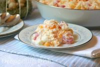 Mandarin Orange Fruit Salad ~ 11 oz can mandarin oranges, drained; 20 oz can pineapple chunks, drained; 10 oz jar maraschino cherries, drained; 1 cup mini marshmallows, 1 cup flaked coconut, 1 cup sour cream (&/or 8 oz tub Cool Whip). Can also...
