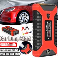 98600mAh 12V Car Jump Starter Multifunction Auto Power Bank Portable 4USB Power Bank Emergency Battery Booster Clamp 600A