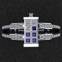 This beautiful made to order TARDIS ring comes from Etsy user dtekdesigns and can be made using platinum, white gold, rose gold, yellow gold, and sterling silve
