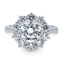 A Vintage Style 2CT Round Cut Halo Russian Lab Diamond Engagement Ring $187.00