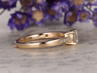 5MM ROUND CUT 0.5CTW MOISSANITE AND DIAMOND ENGAGEMENT RING 14K YELLOW GOLD