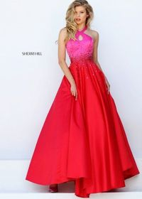 2016 Sherri Hill 50275 Two Tone Halter Style Ball Gown