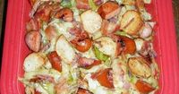 Sausage, Potato & Cabbage Bake... so good .. I added vinegar ( to taste , when I cooked cabbage) and a lil olive oil to mine