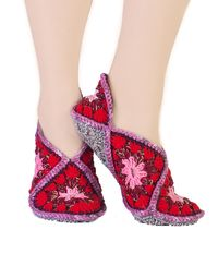 Red natural wool crochet slippers for house, as a cute Christmas gift for a beloved wife. Slippers size 8 9 10 $35.00