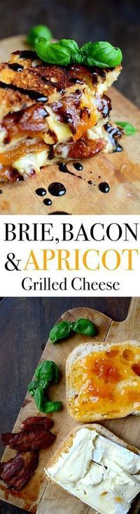 Bacon, Brie, and Apricot Grilled Cheese with Balsamic Reduction