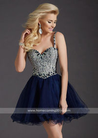 Sweet Thin Beaded Straps Navy A Line Corset Back Homecoming Dress