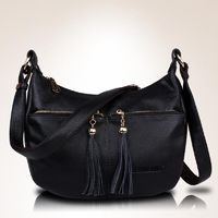 Women's Genuine Leather Handbags All-match Shoulder CrossBody Bags Tassel Messenger Bags R536.80