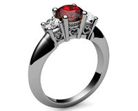 3 stone Hearts Ruby Engagement Ring Heart Filigree Ring Milgrain Ring Promise Ring for Your Love One $830.00