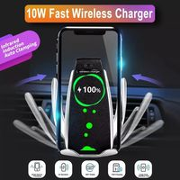 10W Qi Wireless Charger Infrared Sensor Automatic Clamping Air Vent Car Phone Holder For 4.0-6.5 Inch Qi-enabled Smart Phone