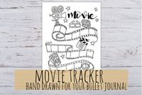 Movie Tracker: Bullet Journal Printable, for Bullet Journal, Agenda, 3 sizes A4, A5, Filofax Personal, in jpg and pdf
