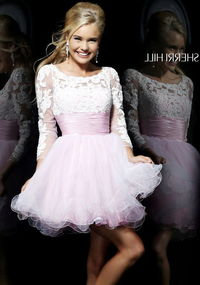 Short Sherri Hill 21234 Pink Long Sleeves Lace Embellished Cocktail Dress