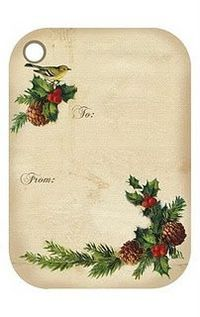 Free printable Christmas git tags...I really like these...even a bird on them...