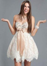 Beaded Sweetheart White Short Prom Dress With Pink Bow