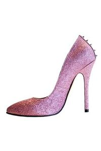 Pink Closed-toe Stiletto Heel Prom Shoes with Rivets