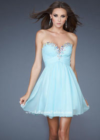 Ice Blue Strapless Colorful Beaded Neck 2014 Cocktail Dress