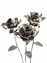 Handcrafted Three Steel Roses $59.95