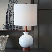 Carson White Ceramic and Mahogany Wood Table Lamp $164