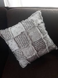 Rag Quilt Couch Pillow- Country and Farmhouse Accent Pillow- Elegant Sofa Pillow- Gift Idea-Handmade $45.00